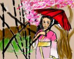 kimono girl and landscape by miharuyume