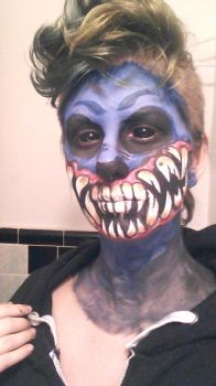 Blue Monster Makeup Test by TsunamiTheWave