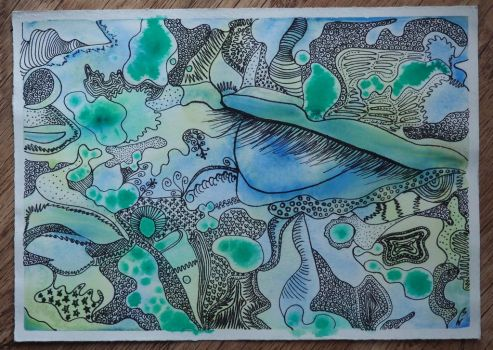 Dance of watercolor contoured fineliner. by BW-Neelly
