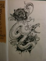 Snake and roses tattoo design by mmpninja