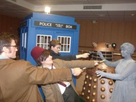 Doctor Who Cosplay: Ten, Eleven, Jack, Angel by KnoppGraphics