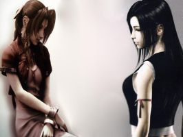 Aerith and Tifa by raine1725
