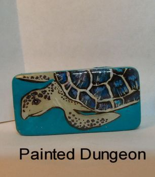 Sea Turtle Painted Dominoe / Domino Recycled Art by whuffie
