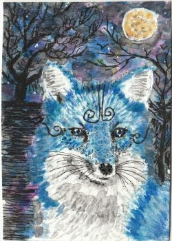 Blue Fox  fantasy moon watercolor aceo painting by tulipteardrops