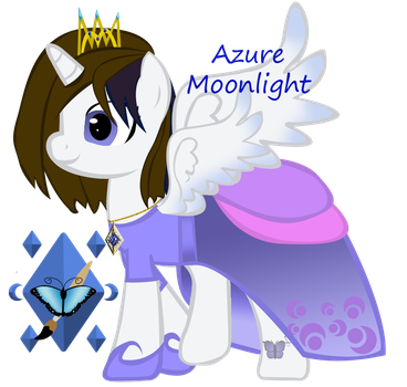Azure Moonlight openwing w/crown and dress by ebojf