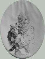 Mad About Her Cat, pencil by hank1