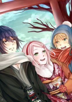 Team 7 -SasuSakuNaru winter clothes edition- by Ellinot