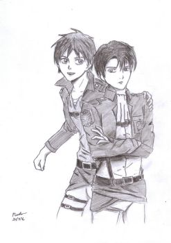 Attack on Titan - Eren and Levi by INH99