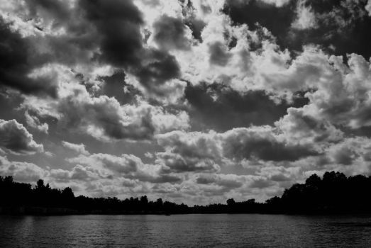 Clouds Roll Over in Black and White by bloomingvinedesign