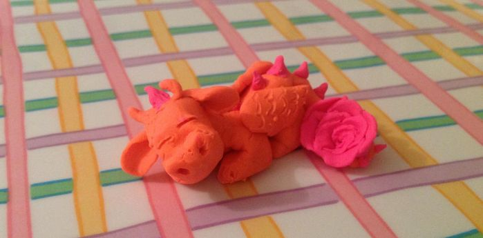 Orange Rose Dragon by glitterglues