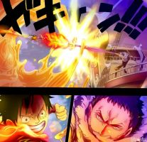 One Piece 877 - Luffy VS Katakuri color version by Hanayo-Nao