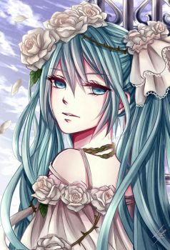 Miku Hatsune: with the white roses by Ellinot