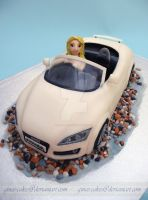 Audi Convertable Cake: front view by ginas-cakes