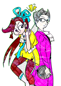 Ace Attorney Athena Cykes and Miles Edgeworth by wannabeMarysue