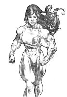 She Hulk Walking by UZOMISTUDIO