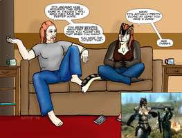 Illustration: Two Best Friends Play Skyrim by LadyMetaRose