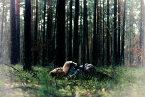 sleeping on moss by AnyMoreThan