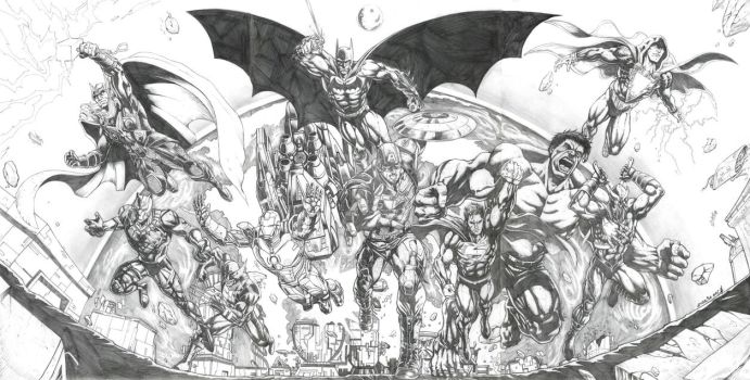 Avengers and JLA by jey2dworld