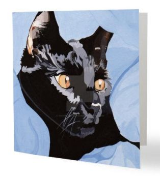 Cat greetings card by hmwillustration