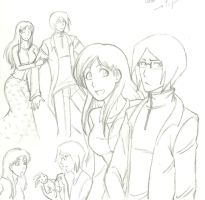 Orihime x Ishida Sketches by KN-KL