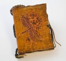 Dragonfly Pocket Size Compass Leather Journal by gildbookbinders