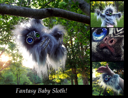 --SOLD--Poseable Hand Made Fantasy Baby Sloth! by Wood-Splitter-Lee
