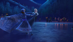 Olaf Frozen Adventure : Elsa and Anna on ice by blueappleheart89