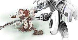 Aloy and the Tickling Machine by PawFeather