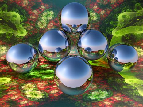 Reflective spheres in a fractal environment 1 by PatrickKarlsson