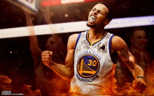 Steph Curry with the Fire Boi | Wallpaper by ClydeGraffix