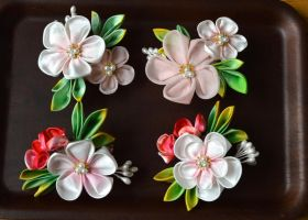 Ume and Holly tsumami kanzashi boutonniere by hanatsukuri