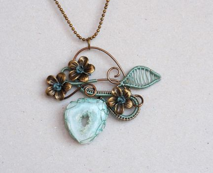 Sage green druzy agate wire wrapped pendant by IanirasArtifacts