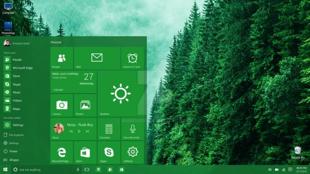 Windows 10 (final build) Redesigned Start Menu by armend07