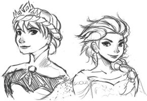 Coronation and Snow Queen Elsa Sketches by gabumon-noodles