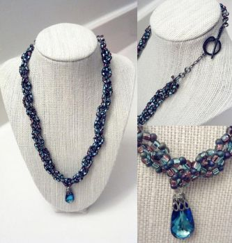 Braided Seed Bead Necklace W/ Pendant by Zunii-H