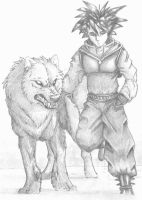 anime dude and wolf pet by TheTyro
