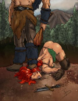 Red Sonja unconscious by pandacolor