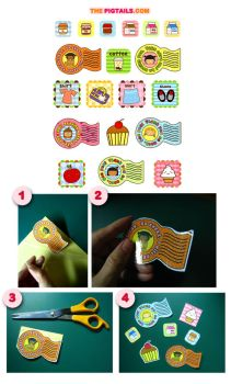 Pigtails Printable Stickers by jazgirl