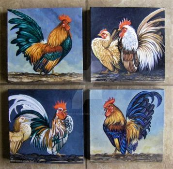 Serama Chicken Grouping of 4 by HouseofChabrier
