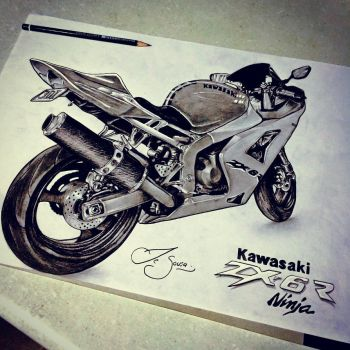 Sketch of Kawasaki zx-6r by Jolene-eSousa