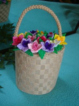 Needlepoint Flower Basket container by HeddaLee