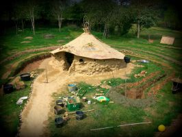 Celtic Roundhouse With Grass Roof By Gangahimalaya On