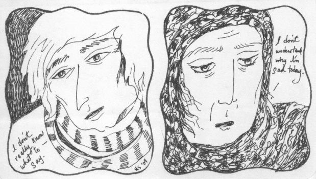 Yound man and Old Woman by Najie