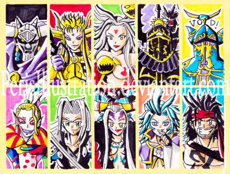 Dissidia Villains Stickers by PerisIllustration