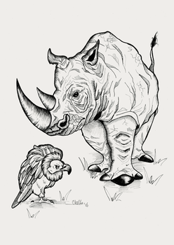 Rhino and Vulture by Veavictis