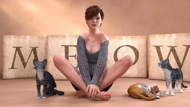 Girl with cats by barba22