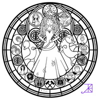 Stained Glass: Merida -line art- by Akili-Amethyst