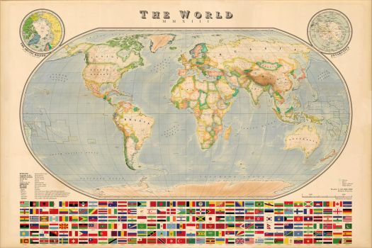 World Map - Vintage style (improved elevations) by Regicollis