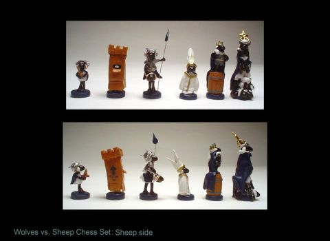 wolves vs. Sheep chess set III by sculptwerks