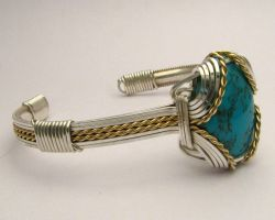 Wire Wrapped Turquoise Sterling Silver /14kt Gold by JandSGems